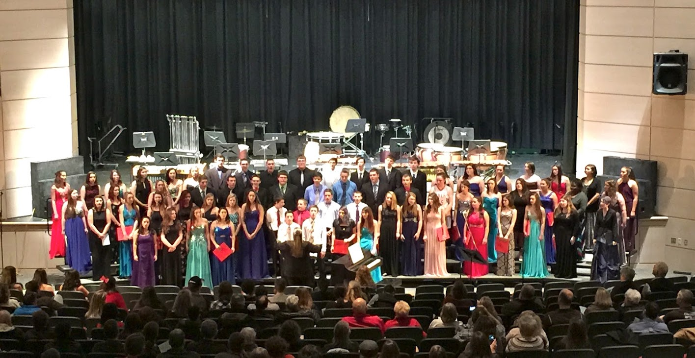 Combined Concert Choir and Select Choir perform at the Winter Concert.